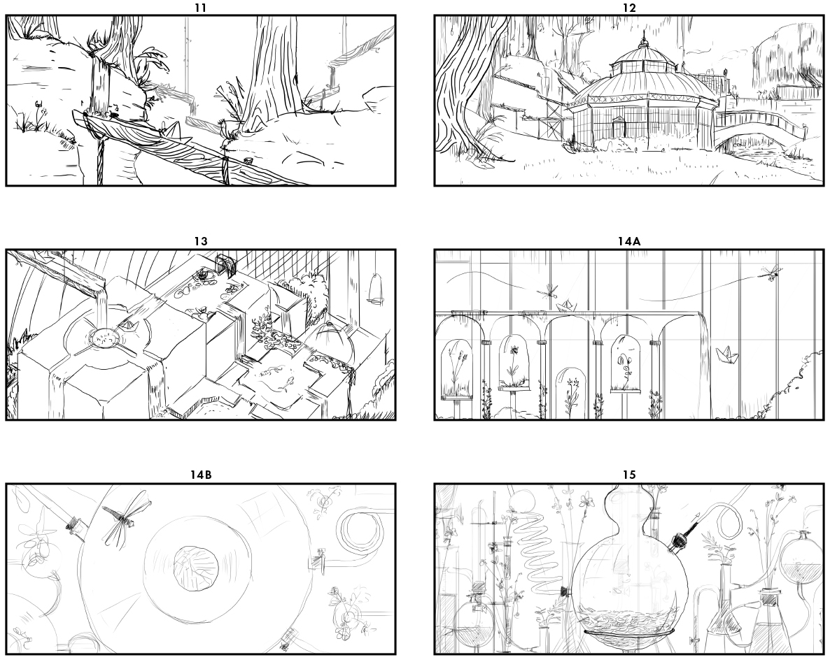 Extrait de storyboard de la presentation animee Huygens Flower animation par Parallel Studio