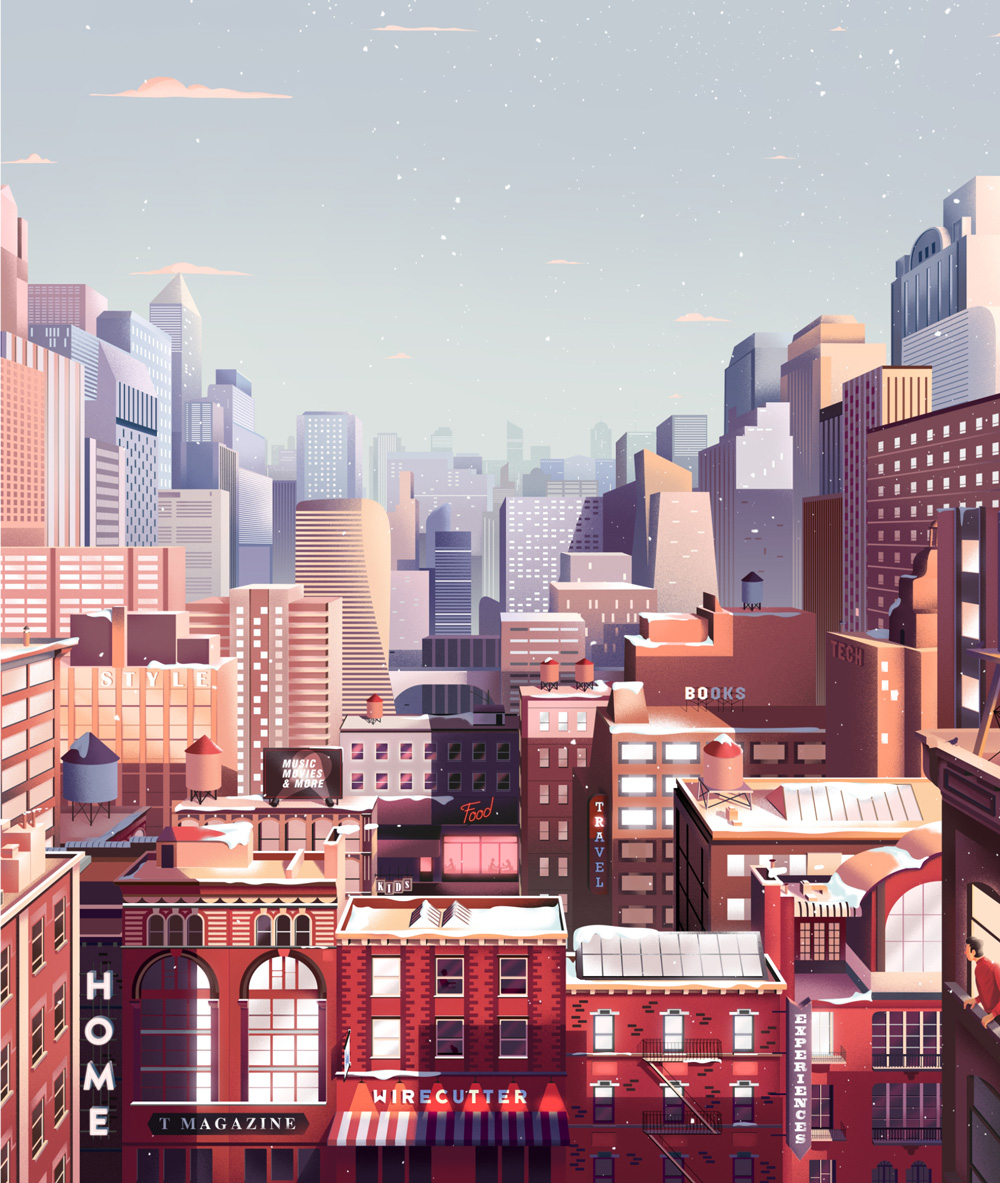 new york times animation parallel christmas noel motion design illustration city ville immeuble neige